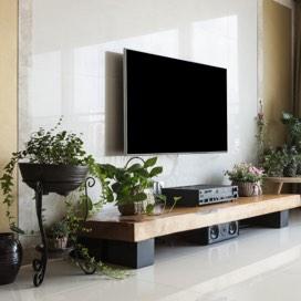 modern tv on wall